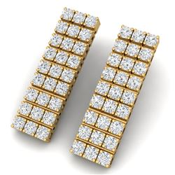 4 CTW Certified SI/I Diamond Earrings 18K Yellow Gold - REF-235F2M - 39949