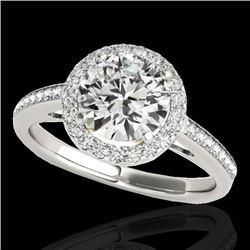 1.3 CTW H-SI/I Certified Diamond Solitaire Halo Ring Two Tone 10K White & Yellow Gold - REF-172F8M -