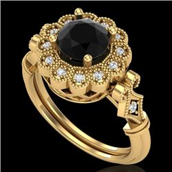1.2 CTW Fancy Black Diamond Solitaire Engagement Art Deco Ring 18K Yellow Gold - REF-123F6M - 37830