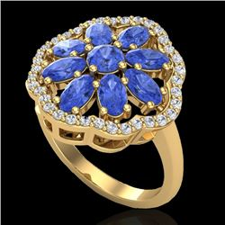 3 CTW Tanzanite & VS/SI Diamond Cluster Designer Halo Ring 10K Yellow Gold - REF-67H5W - 20790
