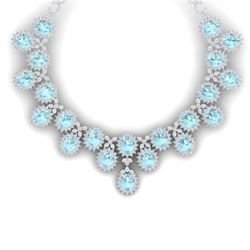 83 CTW Royalty Sky Topaz & VS Diamond Necklace 18K White Gold - REF-1381X8T - 38631