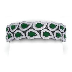 21.6 CTW Royalty Emerald & VS Diamond Bracelet 18K White Gold - REF-818H2W - 39480