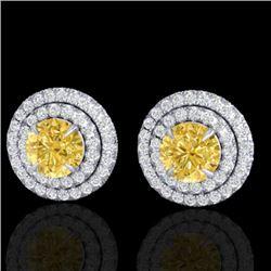 2 CTW Citrine & Micro Pave VS/SI Diamond Stud Earrings Double Halo 18K White Gold - REF-85F5M - 2146