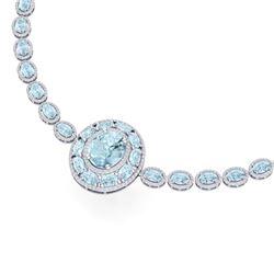45.12 CTW Royalty Sky Topaz & VS Diamond Necklace 18K White Gold - REF-836F4M - 39285