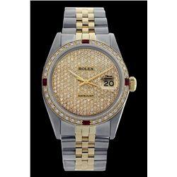 Rolex Men's Two Tone 14K Gold/SS, QuickSet, Diam Pave Dial & Diam/Ruby Bezel - REF-572K7R