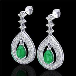 2.25 CTW Emerald & Micro Pave VS/SI Diamond Earrings Designer 14K White Gold - REF-105M5F - 23151