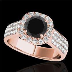 1.8 CTW Certified Vs Black Diamond Solitaire Halo Ring 10K Rose Gold - REF-101X6T - 34064
