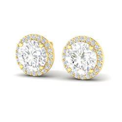 3.50 CTW VS/SI Diamond Certified Earrings 18K Yellow Gold - REF-942N5Y - 21490