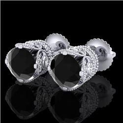3 CTW Fancy Black Diamond Solitaire Art Deco Stud Earrings 18K White Gold - REF-149M3F - 37415