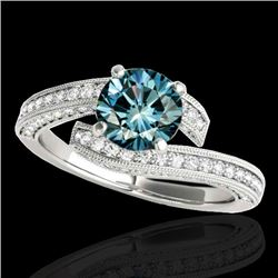 2 CTW SI Certified Fancy Blue Diamond Bypass Solitaire Ring 10K White Gold - REF-227F3M - 35135