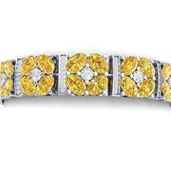 34.18 CTW Royalty Canary Citrine & VS Diamond Bracelet 18K White Gold - REF-536H4W - 39027