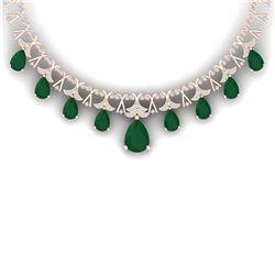 56.94 CTW Royalty Emerald & VS Diamond Necklace 18K Rose Gold - REF-1236M4F - 38701