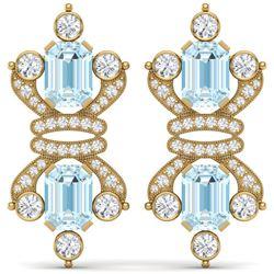 28.39 CTW Royalty Sky Topaz & VS Diamond Earrings 18K Yellow Gold - REF-490K9R - 38771