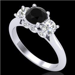 1.5 CTW Fancy Black Diamond Solitaire Art Deco 3 Stone Ring 18K White Gold - REF-136K4R - 38262