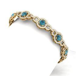 12 CTW Si/I Fancy Blue And White Diamond Bracelet 18K Yellow Gold - REF-831M8F - 40117