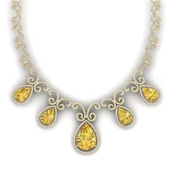 36.1 CTW Royalty Canary Citrine & VS Diamond Necklace 18K Yellow Gold - REF-1022Y8N - 39539