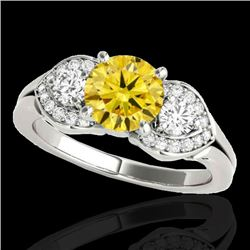 1.7 CTW Certified Si Fancy Intense Yellow Diamond 3 Stone Ring 10K White Gold - REF-218W2H - 35347
