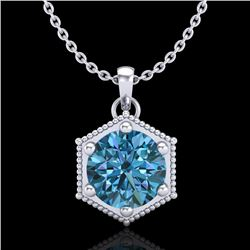 0.82 CTW Fancy Intense Blue Diamond Solitaire Art Deco Necklace 18K White Gold - REF-114X5T - 38048