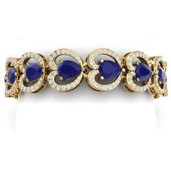 32.15 CTW Royalty Sapphire & VS Diamond Bracelet 18K Yellow Gold - REF-672T8X - 38693