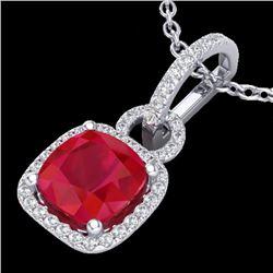 3 CTW Ruby & Micro VS/SI Diamond Certified Necklace 18K White Gold - REF-74R2K - 22988