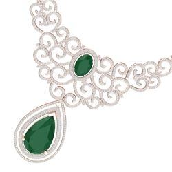 87.52 CTW Royalty Emerald & VS Diamond Necklace 18K Rose Gold - REF-2000W2H - 39837