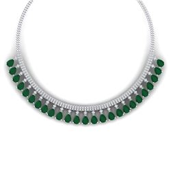 51.75 CTW Royalty Emerald & VS Diamond Necklace 18K White Gold - REF-1072Y8N - 38871