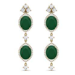 15.81 CTW Royalty Emerald & VS Diamond Earrings 18K Yellow Gold - REF-309M3F - 38906