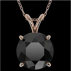2.50 CTW Fancy Black VS Diamond Solitaire Necklace 10K Rose Gold - REF-61N5Y - 33244