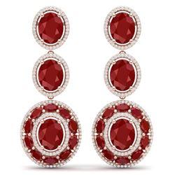 32.84 CTW Royalty Designer Ruby & VS Diamond Earrings 18K Rose Gold - REF-490R9K - 39259