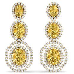 16.15 CTW Royalty Canary Citrine & VS Diamond Earrings 18K Yellow Gold - REF-290M9F - 39218