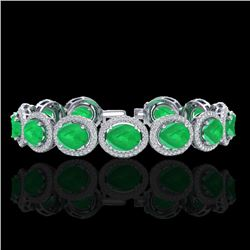 30 CTW Emerald & Micro Pave VS/SI Diamond Certified Bracelet 10K White Gold - REF-481W8H - 22686