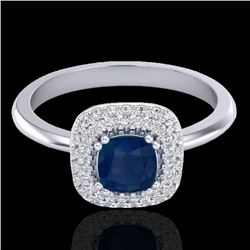 1.16 CTW Sapphire & Micro VS/SI Diamond Ring Double Halo 18K White Gold - REF-71F6M - 21035