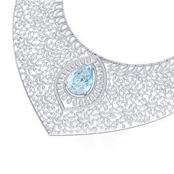 63.27 CTW Royalty Sky Topaz & VS Diamond Necklace 18K White Gold - REF-2454X5T - 39579
