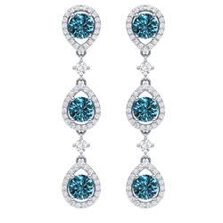 5.28 CTW Royalty Fancy Blue, SI Diamond Earrings 18K White Gold - REF-427Y3N - 39099