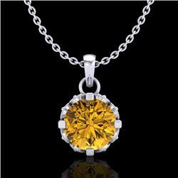 0.85 CTW Intense Fancy Yellow Diamond Art Deco Stud Necklace 18K White Gold - REF-109F3M - 37371