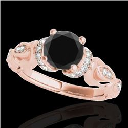 1.2 CTW Certified Vs Black Diamond Solitaire Antique Ring 10K Rose Gold - REF-57Y3N - 34679