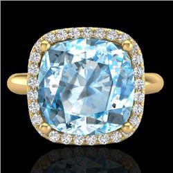 6 CTW Sky Blue Topaz & Micro Pave Halo VS/SI Diamond Ring 18K Yellow Gold - REF-56H4W - 23108
