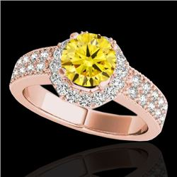 1.4 CTW Certified Si Fancy Intense Yellow Diamond Solitaire Halo Ring 10K Rose Gold - REF-172F5M - 3