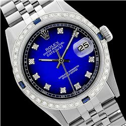 Rolex Ladies Stainless Steel, Diam Dial & Diam/Sapphire Bezel, Saph Crystal - REF-355Z6Y