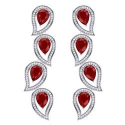 16.44 CTW Royalty Designer Ruby & VS Diamond Earrings 18K White Gold - REF-336F4M - 39453