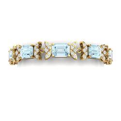 39.65 CTW Royalty Sky Topaz & VS Diamond Bracelet 18K Yellow Gold - REF-356F4M - 39401