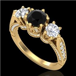 2.18 CTW Fancy Black Diamond Solitaire Art Deco 3 Stone Ring 18K Yellow Gold - REF-200N2Y - 38110