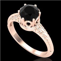 1 CTW Fancy Black Diamond Solitaire Engagement Art Deco Ring 18K Rose Gold - REF-52F8M - 38116
