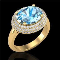 5 CTW Sky Blue Topaz & Micro Pave VS/SI Diamond Certified Ring 18K Yellow Gold - REF-98Y8N - 20909