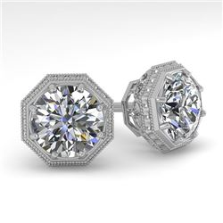 2.05 CTW Certified VS/SI Diamond Stud Earrings 14K White Gold - REF-550Y3N - 35616