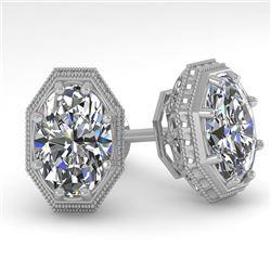 2 CTW VS/SI Oval Cut Diamond Stud Earrings 18K White Gold - REF-499N3Y - 35982