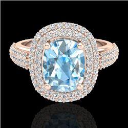 3.50 CTW Topaz & Micro Pave VS/SI Diamond Certified Halo Ring 10K Rose Gold - REF-94M9F - 20708