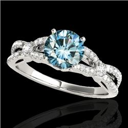 1.35 CTW SI Certified Fancy Blue Diamond Solitaire Ring 10K White Gold - REF-167N3Y - 35228