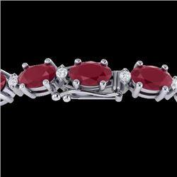 30.8 CTW Ruby & VS/SI Certified Diamond Eternity Bracelet 10K White Gold - REF-217K5R - 29459
