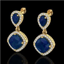 7 CTW Sapphire & Micro Pave VS/SI Diamond Earrings Designer Halo 10K Yellow Gold - REF-107T3X - 2021